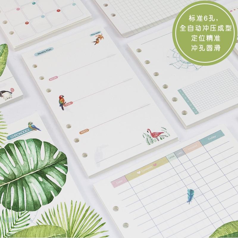 A5a6a7 Bunte Tropischen Regen Wald Vogel Lose Blatt Notizblock Refill Piont/gird/monat/wöchentlich Plan/linie/zu Tun Loose Leaf Planer Notebooks Office & School Supplies