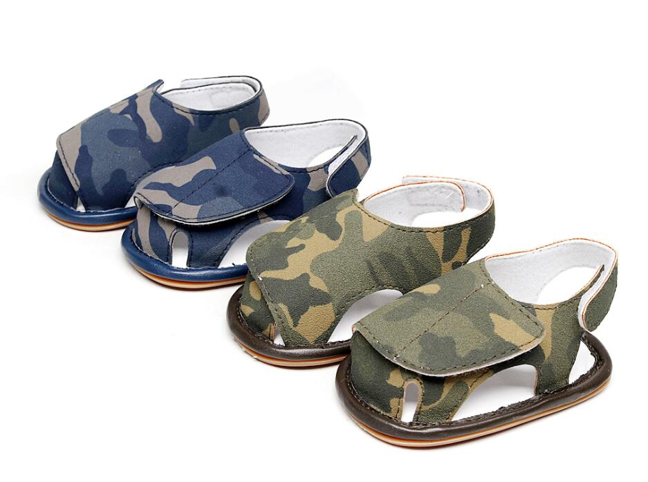 2018 summer New Camouflage blue baby sandals first walker girls and boys shoes Non-slip hard sole baby sandals