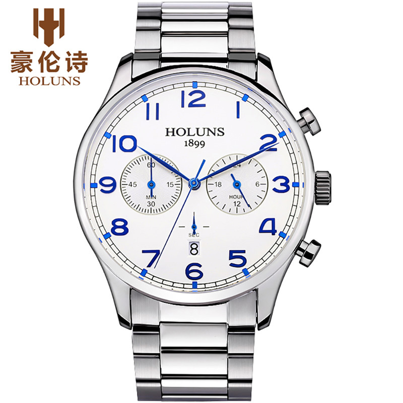 HOLUNS Noble Wristwatches for Men High Quality Stainless Steel Watch Strap Chronograph Date Design Sport Business Watches Gifts