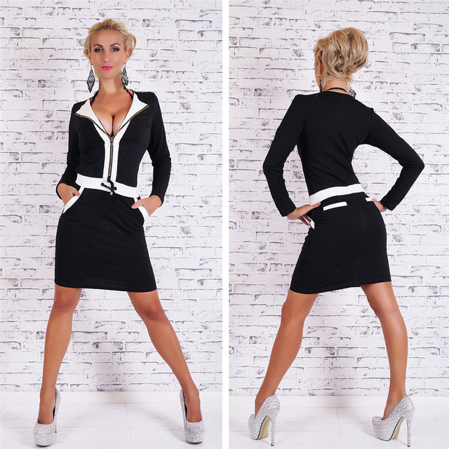 hot office pic. Women Office Tunic Summer Zipper Dress 2017 Hot Sexy High Quality Bodycon Vestidos Pic