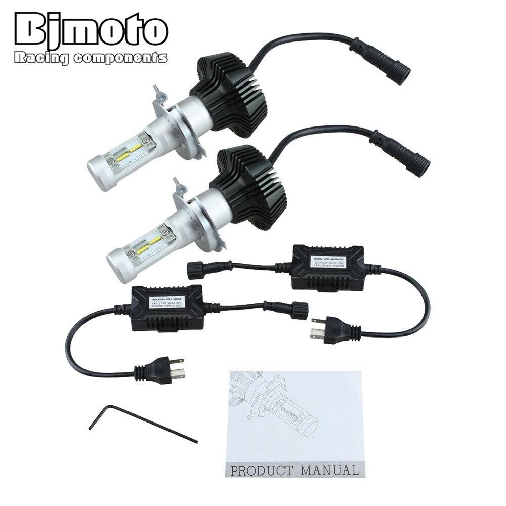 BJMOTO HL-K6-H4 2 x High Power H4 K6 LED Headlight Bulbs Driving Lights 9003 HB2 8000LM 6000K White High/Low Beam Bulbs