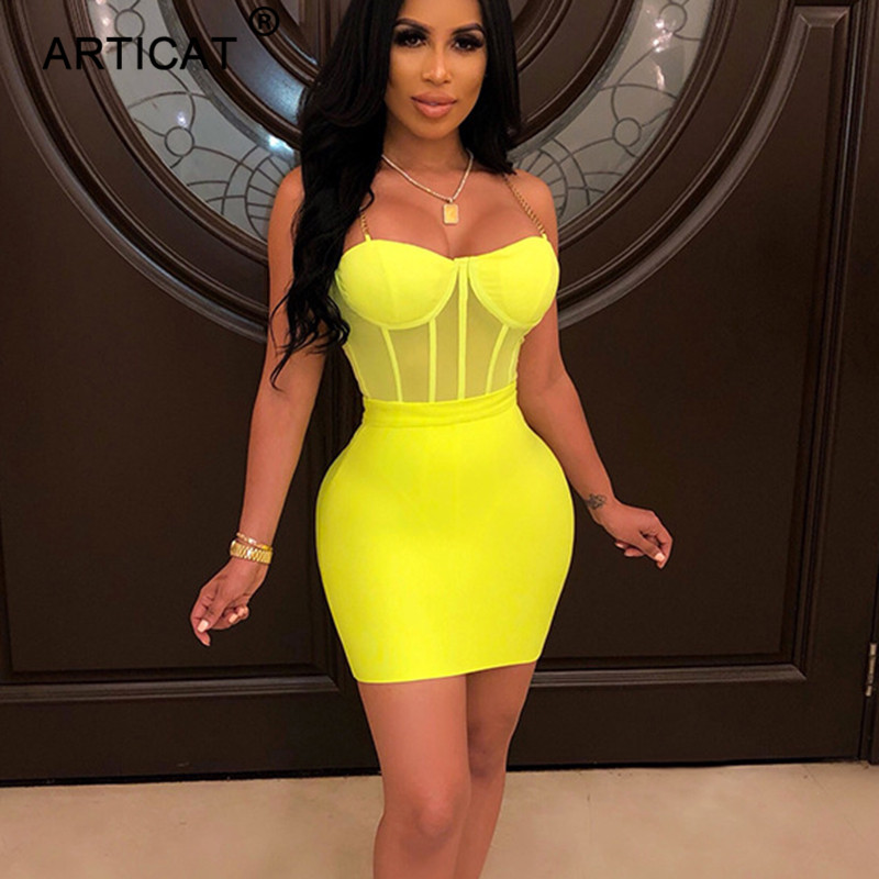 Articat <font><b>2</b></font> Stück <font><b>Set</b></font> Frauen Sommer Kleid Ketten Band Mesh Sexy Body Und Hohe Taille Rock Kurze Party Club Frauen <font><b>set</b></font> Outfits image