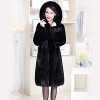 Nerazzurri Real Mink Fur Coat Women 2017 Long Sleeve Withstring Hooded Black Nature Fur Jacket Overcoat Plus Size 4xl5xl 6xl 7xl