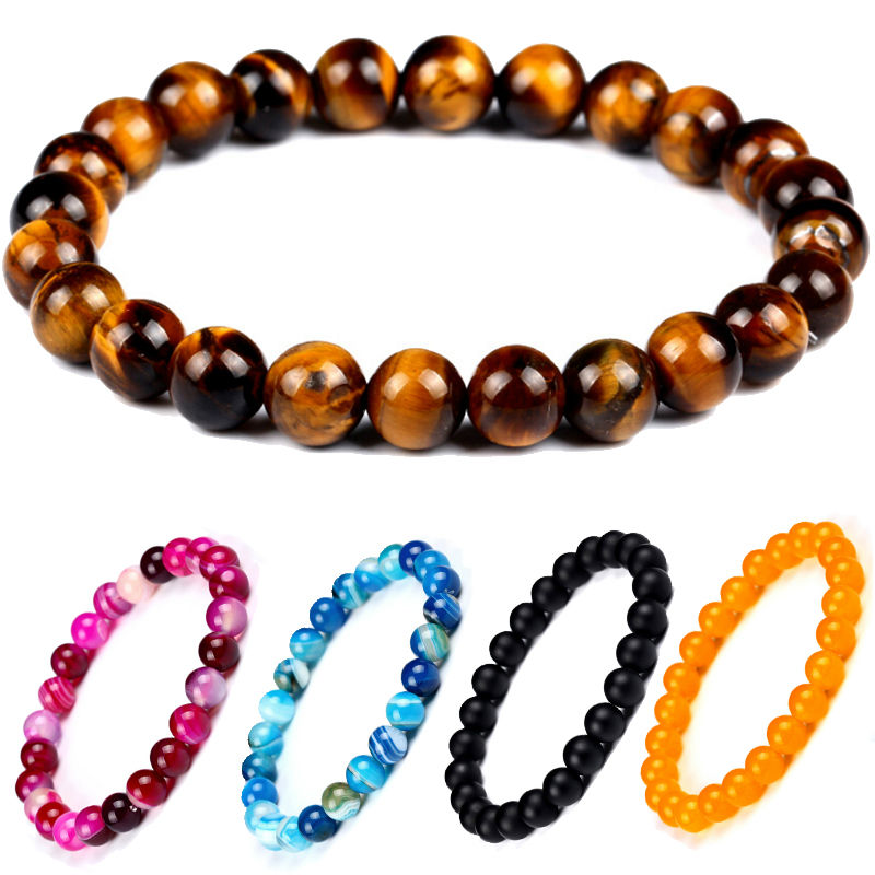 Hot Sale Obsidian Tiger Eye Stone Lava Bead Powder Crystal Handle Natural Women Bracelet for Men Jewelry