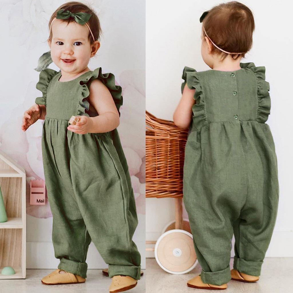 Boys&Girls Jumpsuit Sleeveless Ruffles Solid Print linen romper new born baby clothes bebek tulum unisex baby clothes