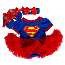Baby Clothes Supergirl costume for Baby Infant Party Dress Tutus Newborn Jumpsuit Bebe Romper Baby Girl Clothing Birthday Gift(China)
