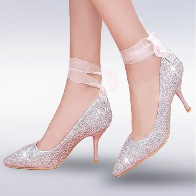 New Women Pumps Bling High Heels Glitter Ankle Lace Up Sexy Pointed Toe Shallow Party Gold Silver Dress wedding shoes new 2018 women pumps party bling high heels gold silver fashion glitter heels women shoes sexy wedding shoes