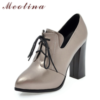 Meotina Women Pumps High Heels Ladies Shoes Pointed Toe Lace Up Thick Heel Shoes 2018 Spring Fashion Female Shoes Luxury Black