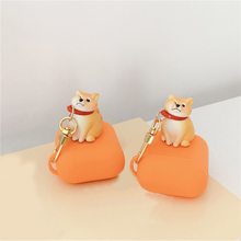 Cute Cartoon 3D scarf dog Pendant Silicone Wireless Bluetooth Earphone Case For Apple AirPods 1 2 Cover with pet Accessories