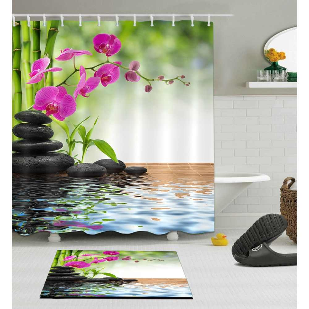 Spa Spring Zen Shower Curtain With Rug Set Bamboo Orchid Stone