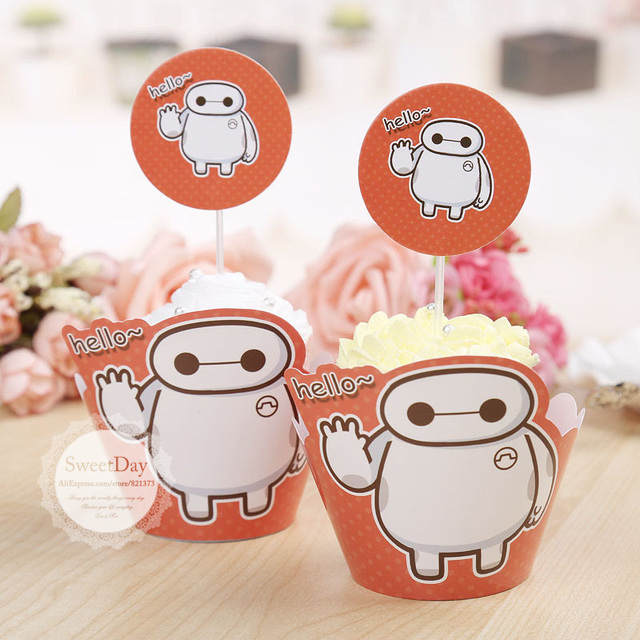 Free Shipping Big Hero 6 Baymax cupcake wrappers cake cups picks