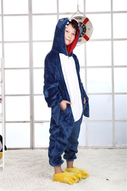 NEW Children Kid Unisex Shark onesies costume Girls Boys animal cosplay Nightwear pajamas pyjama party halloween Sleepwear