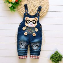 Boys Girl Bib Jeans Child Jumpsuit Jean Overalls Cute Cartoon Denim Infant Boy Children's Clothing Pants Bodysuit 1 2 3 Years(China)
