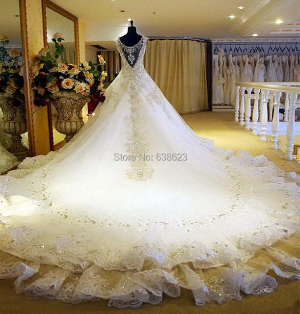 DAW1444 Free Shipping Luxury V-Neck Ball Gown Long Train Church Wedding  Dresses Crystal Beaded efdf1130f3be