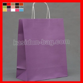 (100/lots) W25xH32xD12cm purple color Kraft paper bags wholesale