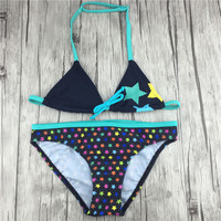 Star Pattern Swimsuit Girl Two Pieces Bikini For Children Kids Fille Biquini Infantil Separate Swimwear For