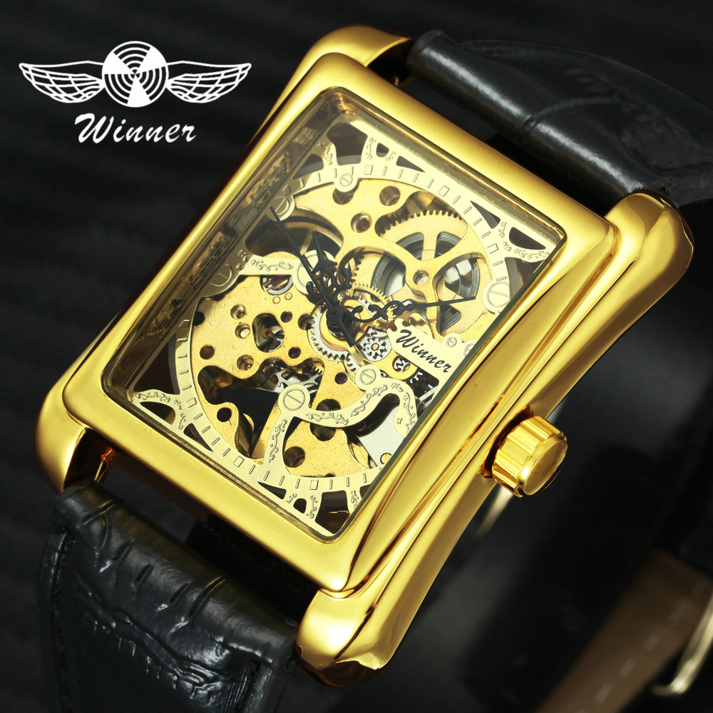 WINNER Retro Ladies Mechanical Watch Men Women Wristwatches Skeleton Rectangle Watches Leather Strap Couple Gift For Lover