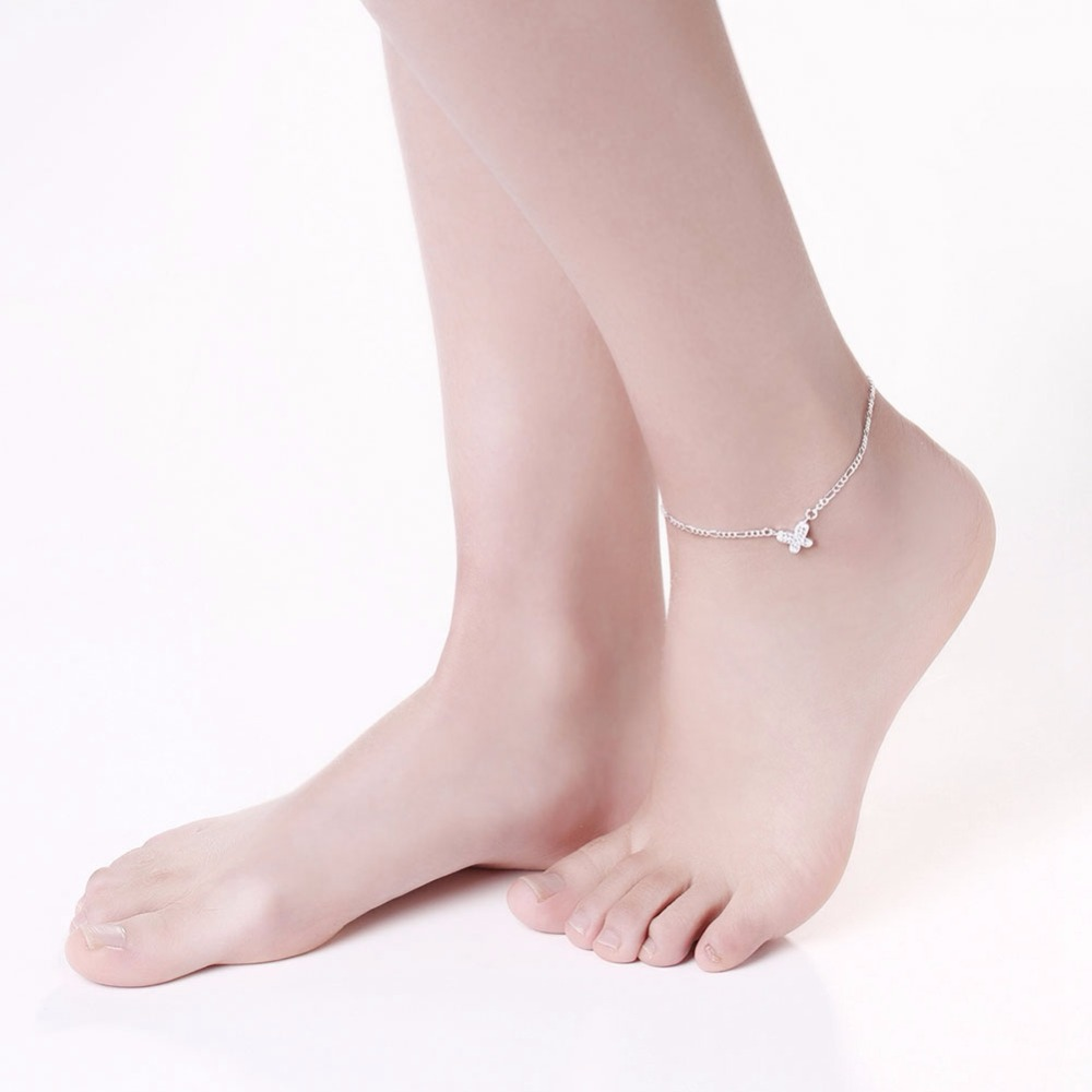 Crystal butterfly Anklets Feet wear jewelry girls gifts 925 sterling silver safe Long link chains a008 gift bags free wholesale