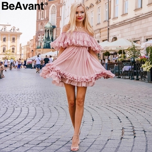 Image 3 - BeAvant Off shoulder strap chiffon summer dresses Women ruffle pleated short dress pink Elegant holiday loose beach mini dress