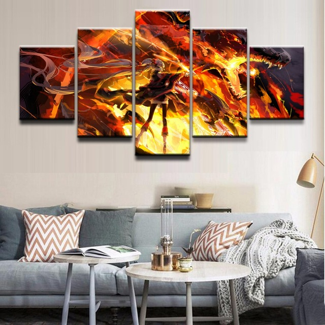 Canvas hd prints pictures modular home decor 5 pieces anime unknown original warrior painting frame poster