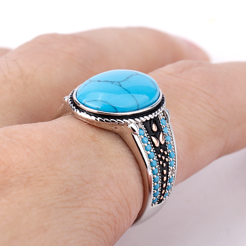 Men Ring 925 Sterling Silver Oval Sky Blue Stone Life Track Significance Ring for Men Fashion Jewelry High Quality