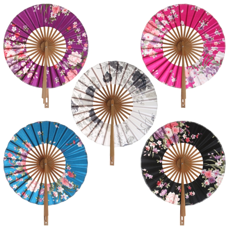 Japanese Sakura Flower Pocket Folding Hand Fan Round Circle Party Decor Gift