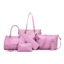 Women Bag 6pcs Sets Fashion font b Handbag b font Set Luxury PU Leather Ladies Shoulder