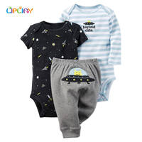 XYH 100 Cotton 3 Pieces 2017 NewBorn Baby Boy Print Sets O Neck Baby Clothing For