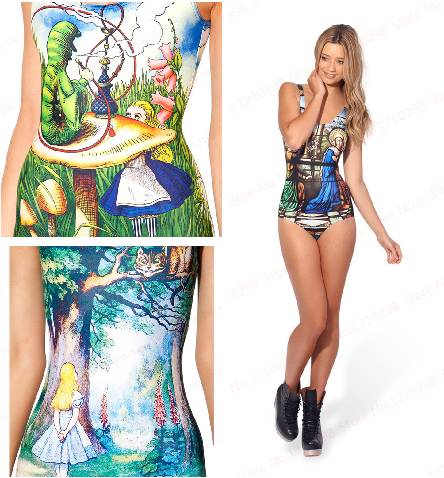 Fairy Tales Printing Swimsuit One Piece Swimwear Sexy ...