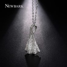 NEWBARK Leaf Pendant Necklace Embellishment Shirt Wave Shaped White Gold Plated Micro Cubic Zirconia Women Gifts For Friends