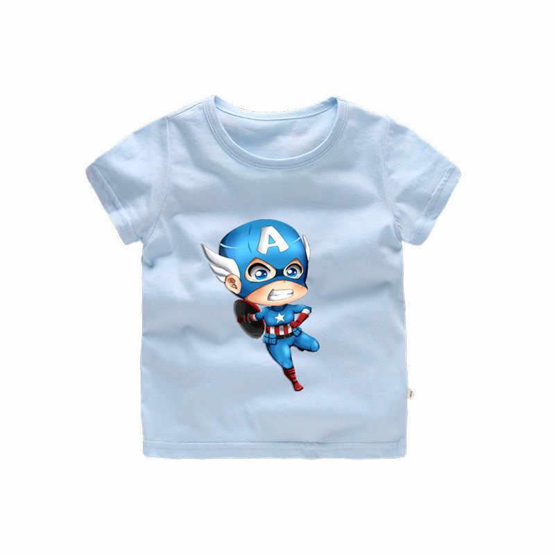 W wieku 2-12 lat dzieci kapitan ameryka T shirt dla dziewczynek Cartoon lato topy dla dzieci wielki odzież codzienna b251