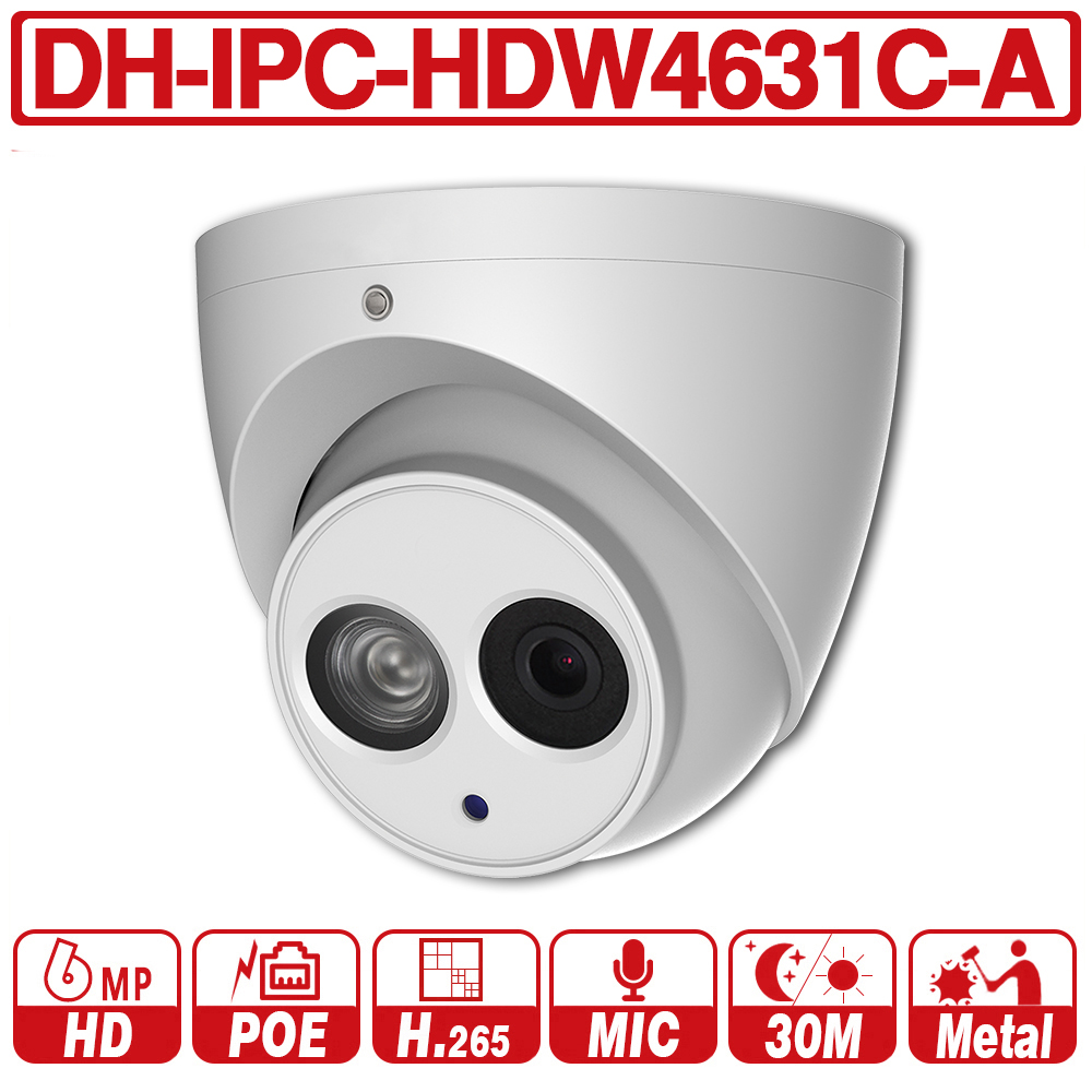 DH witg logo IPC HDW4631C A 6MP HD POE Network Mini Dome IP Camera Metal Case