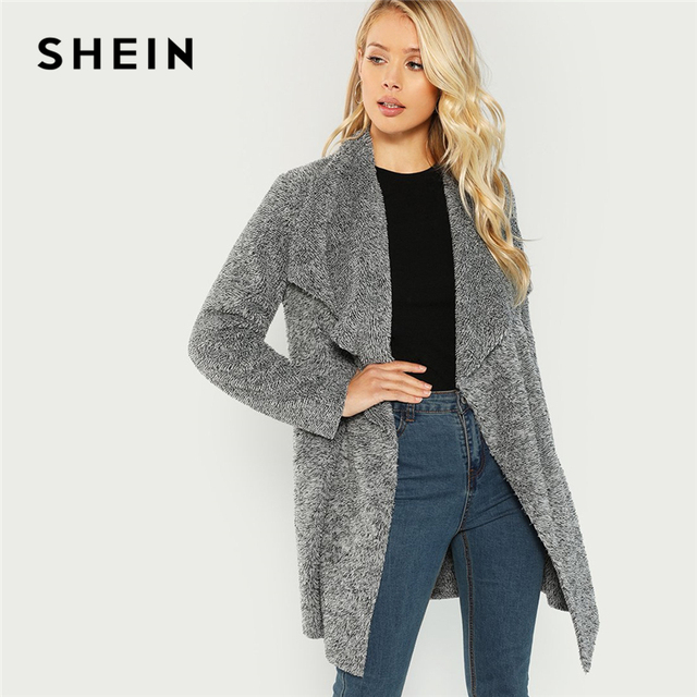 9f7a12cc1f SHEIN Grey Office Lady Elegant Waterfall Collar Solid Knee Length Teddy Coat  2018 Autumn Casual Fashion Women Coats Outerwear