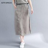 AIYANGA Vintage Women Cotton Linen Skirts 2018 Spring Summer Autumn Elastic Waist Medium Long Skirts Solid Color Loose Casual