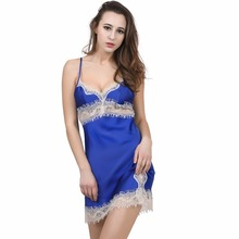 Solid Satin Chiffon Women Nightgown Lace Element Mini Sleepshirt Nightdress Sheer Chemises Slip Lace Neck Sleepwear Sexy Nightie