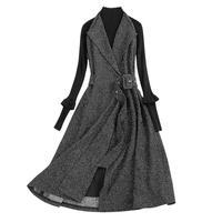 Donna одежда с цветочным принтом 2018 Bodycon Для женщин Демисезонный Высокая талия ретро РК V шеи шерстяной трикотаж миди платье с длинными рукавам