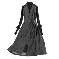 Donna Floral Clothes 2018 Bodycon Women Spring Autumn High Waist Retro Rok V Neck Woolen Tricot Midi Long Sleeve Dress