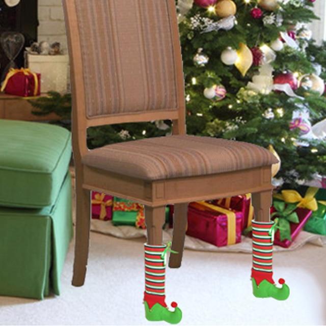 De Noel Decoration Pieds De Chaise Couverture Prevenir Grattage Pied