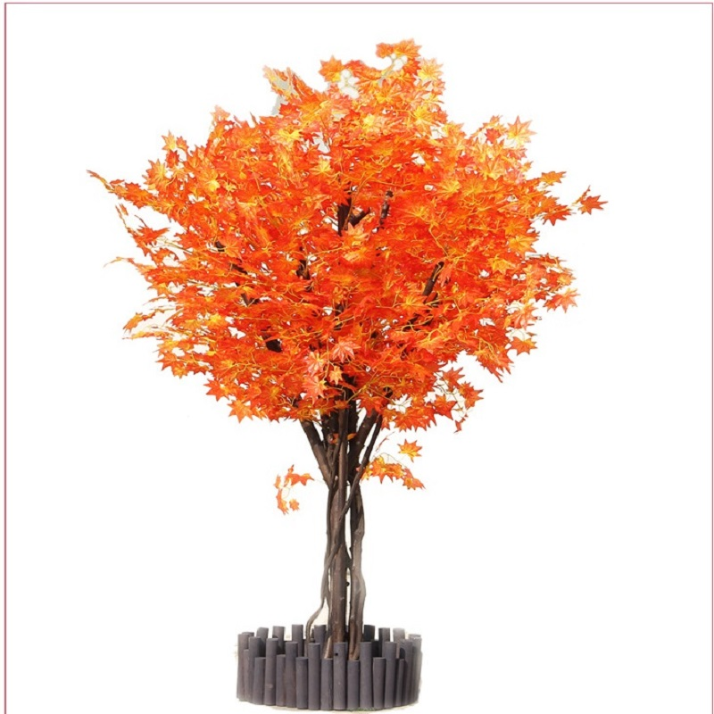 artificial maple tree Red maple tree Large scale simulation of green plants Shop living room decoration plant 1.5 M high - 6