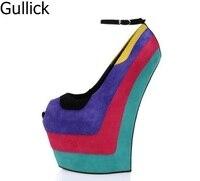 Для женщин смешанные Цвет из флока Босоножки на платформе летняя мода открытый носок толстом каблуке Пряжка на щиколотке ремешок вечерние