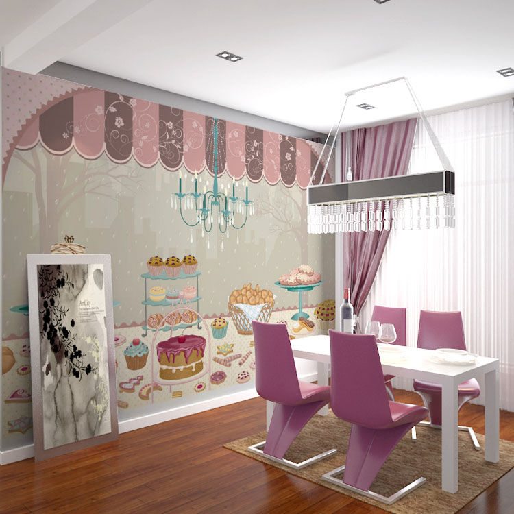 Free Shipping Children room wallpaper Bedroom background wall mural cartoon candy cake shop wallpaper mural 3d stereo bedroom ceiling background wallpaper wall mural wallpaper seamless children room