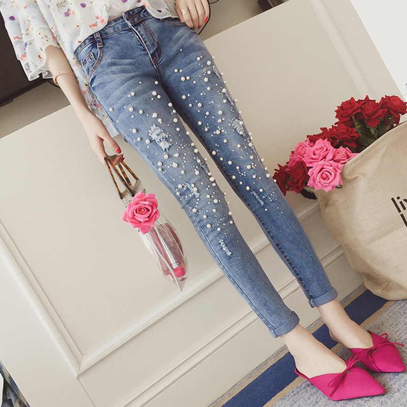 d0770fa3b3b Винтаж жемчуг рваные джинсы стретч Для женщин Джеггинсы крутые джинсовые  Штаны с высокой посадкой Капри женские