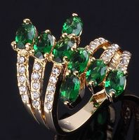 New Fashion Jewelry  women Green Emerald Sapphire Cz 18K yellow  Gold Filled Engagement Ring Gift  Size7,8,9,10 R053