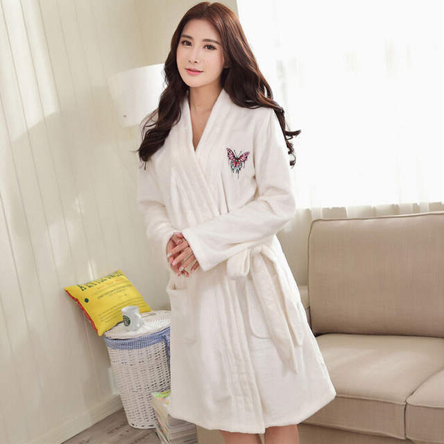 placeholder Winter Thick Warm Women Robes 2017 Butterfly Embroidery Coral  Fleece Couple Bathrobes Hotel Spa Plush Long 416c3c903