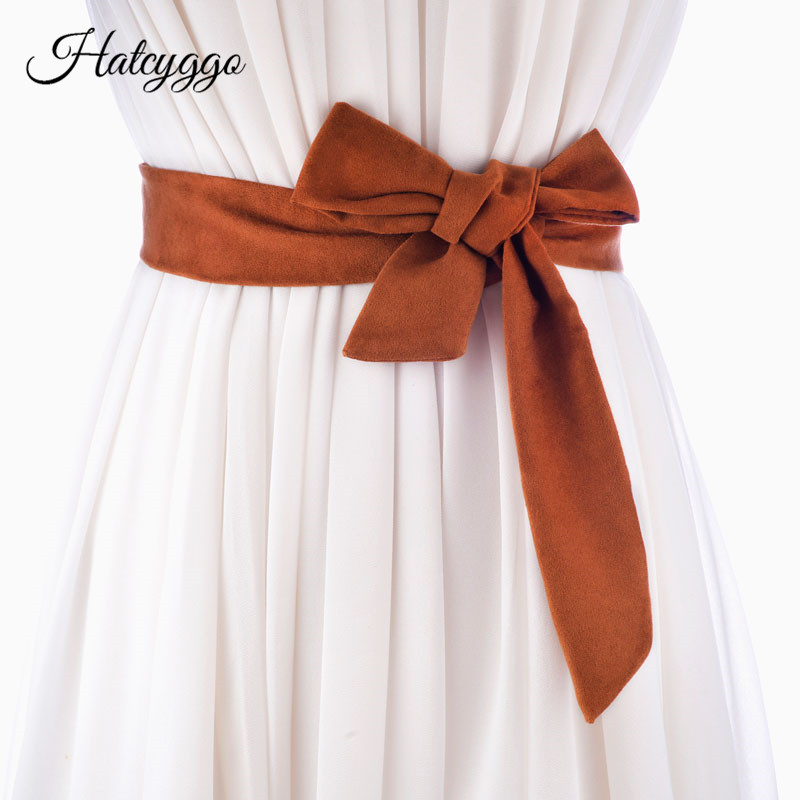 HATCYGGO Women Long Cummerbunds Lace-Up Bowknot Female Waist Corset Belts Tie Strip Belts Casual Wedding Belts Dress Accessories