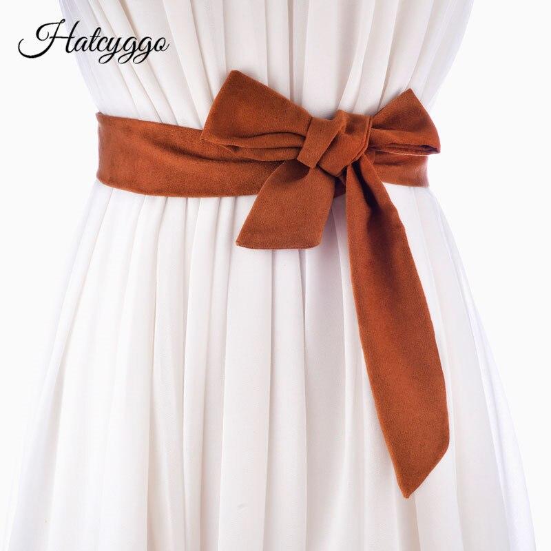 HATCYGGO Women Long Cummerbunds Lace-Up Bowknot Female Waist Corset Belts Tie Strip Belts Casual Wedding Belts Dress Accessories