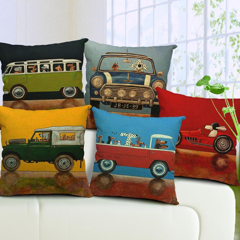 Hot Sale Pillow Lovely Cartoon Dog Driving Car Vintage Almofadas 45X45CM Linnor Kudde Dekorativa Linen Kudde Överdrag