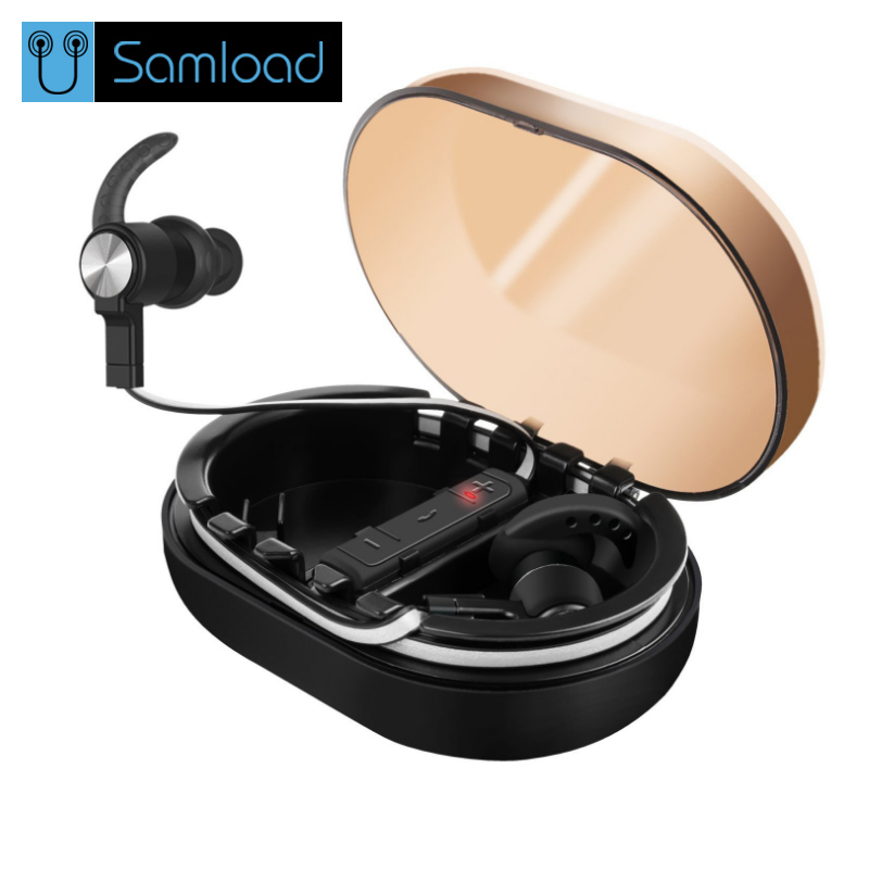 Samload Sports Wireless Bluetooth earphones Stereo Binaural Earbuds In-Ear Earphone Built-in Microphone with Chargeable Mini Box kz ed8m earphone 3 5mm jack hifi earphones in ear headphones with microphone hands free auricolare for phone auriculares sport