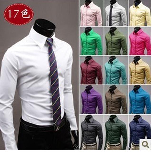 2015 Mens Slim fit exclusivo decote do vestido elegante longo da luva dos homens camisas de vestido 17 colors tamanho