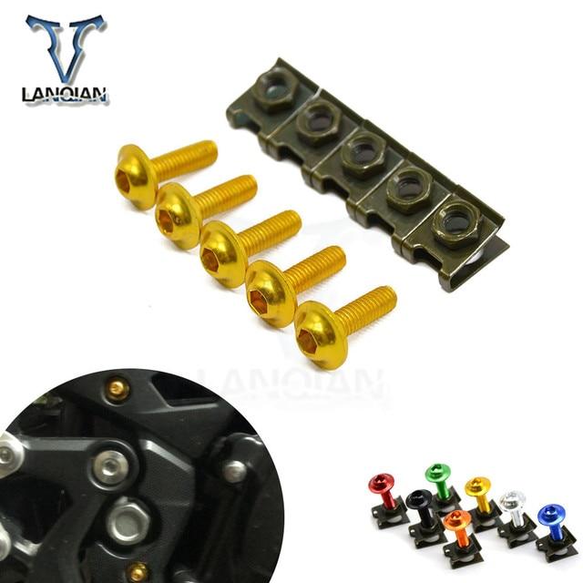 CNC 5 pièces 6mm moto carénage boulon Spire vitesse attache Clips vis pour Suzuki SFV650 GLADIUS TL1000S GSXR750 600KATANA B KING